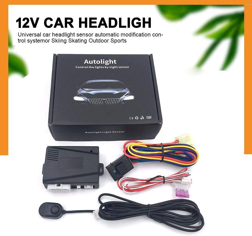 pliab Automatic Headlight Sensor 12V Universal Auto Headlight Modification System Dimmer Controller Smart Kit Includes Controller Power Cord Headlight Switch Dusk to Dawn