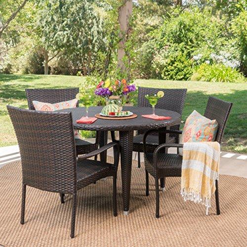 Sol Y Luna Outdoor 5 Piece Wicker Dining Set (Multi Brown)