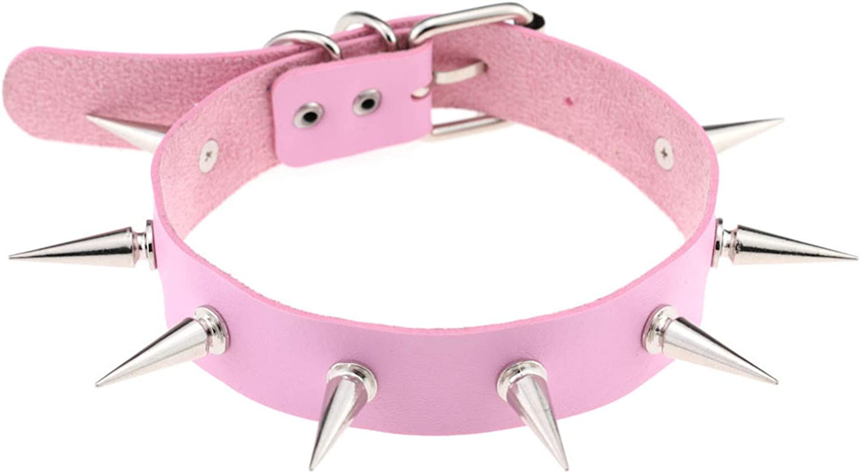 HMS Happy Memories Trendy Punk PU Leather Alloy Spike Rivet Choker Necklace em colares gargantilha for Unisex Rock Night Club Collar Jewelry 1pcs Pink