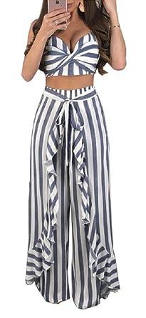 3f0dd827a6c8 YIFAN DREAM Women 2 Piece Set Striped Spaghetti Strap Crop Top + Long  Trousers Jumpsuit Playsuit