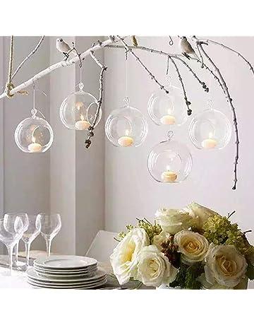 00ec796e52b Warmiehomy 6 X Hanging Clear Glass Plant Flower Vase DIY Bauble Tea Light Candle  Holder Garden