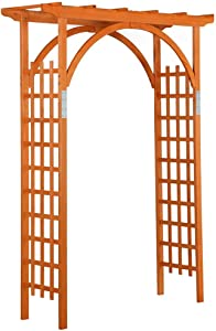 Yaheetech 85in Wood Arbor Arch Trellis Wooden Garden Arbor Wedding Climbing Planting Garden Patio Greenhouse Bridal Party Decoration, Natural Wood