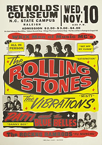 RR13 Vintage Rolling Stones Rock & Roll Concert Gig Band Advertisement  Poster Print - A3 (432 x 305mm) 16 5