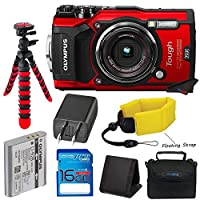 Olympus TG-5 Waterproof Camera with 3-Inch LCD, Red (V104190RU000), I3ePro 16GB Class 10 SD Card, Camera Case and Accessory Bundle
