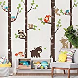 Birch Trees with Cute Forest Animals Wall Decal - Scheme A - 96'' (243 cm) Tall Trees - by Simple Shapes