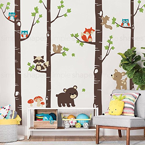Birch Trees with Cute Forest Animals Wall Decal - Scheme A - 96'' (243 cm) Tall Trees - by Simple Shapes by Simple Shapes