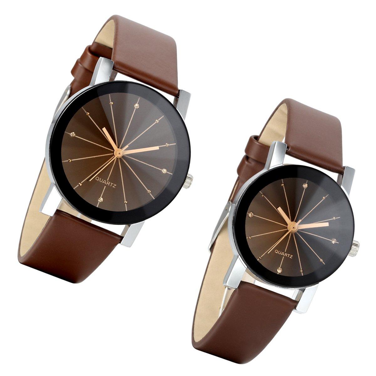 lancardo Reloj de pulsera para pareja Lovers con correa de piel artificial reloj para pareja esfera de cristal Business Casual, marrón (1par)