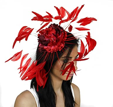 Hats By Cressida - Pretty Feather and Flower Ascot Fascinator Hat at ... c74048e88223