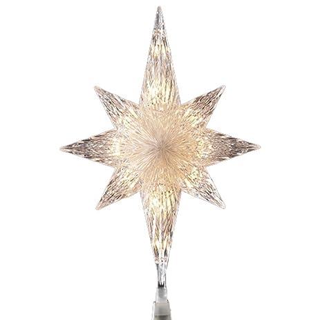 penn 11 lighted clear crystal star of bethlehem christmas tree topper clear lights - Lighted Christmas Tree Topper