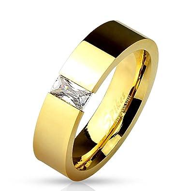 Berühmt Bungsa Ring Gold mit rechteckigem Kristall Stein (Edelstahl Damen @JX_02