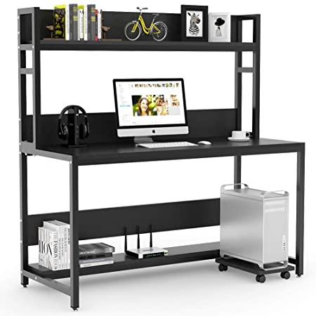 Tribesigns 55 Large Computer Desk with Hutch, Modern Writing Desk with Bookshelf, PC Laptop Study Table Workstation for Home, Black Black Legs