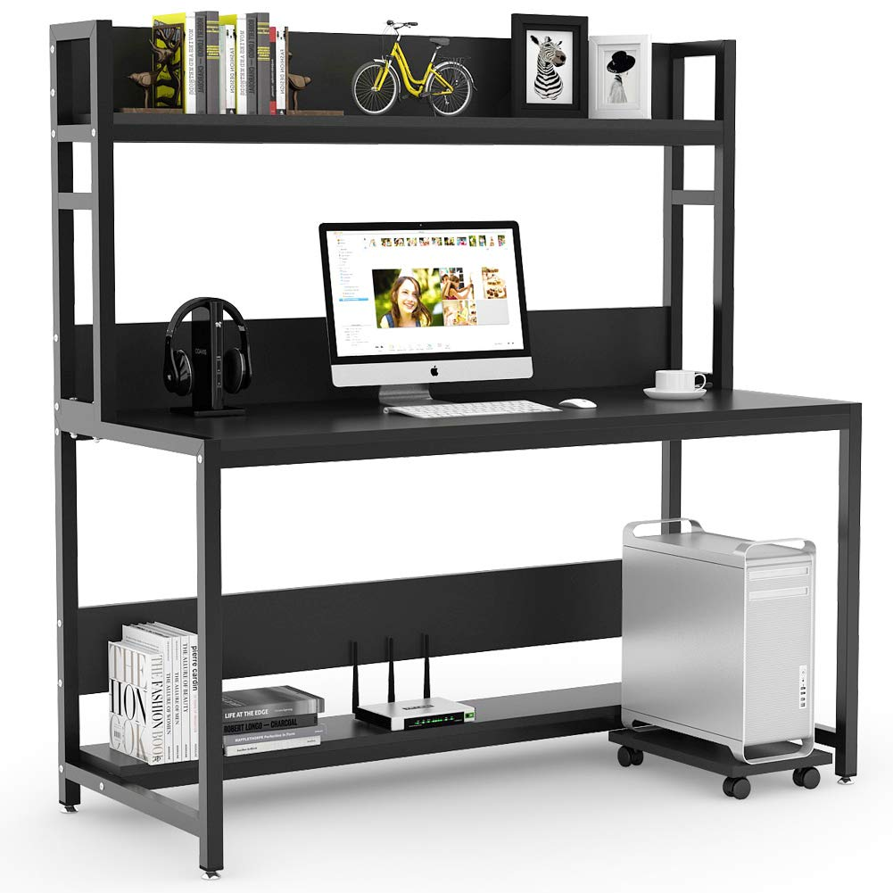 Tribesigns 55'' Large Computer Desk with Hutch, Modern Writing Desk with Bookshelf, PC Laptop Study Table Workstation for Home, Black+ Black Legs