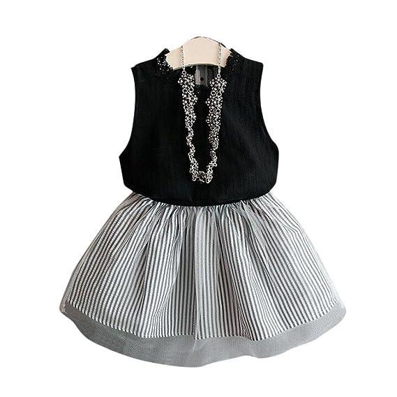 cc7f15e1 Bekleidung Longra Baby Kinder Mädchen Kleidung ärmellose Bluse-T-Shirt Tops  + Streifen kurzen