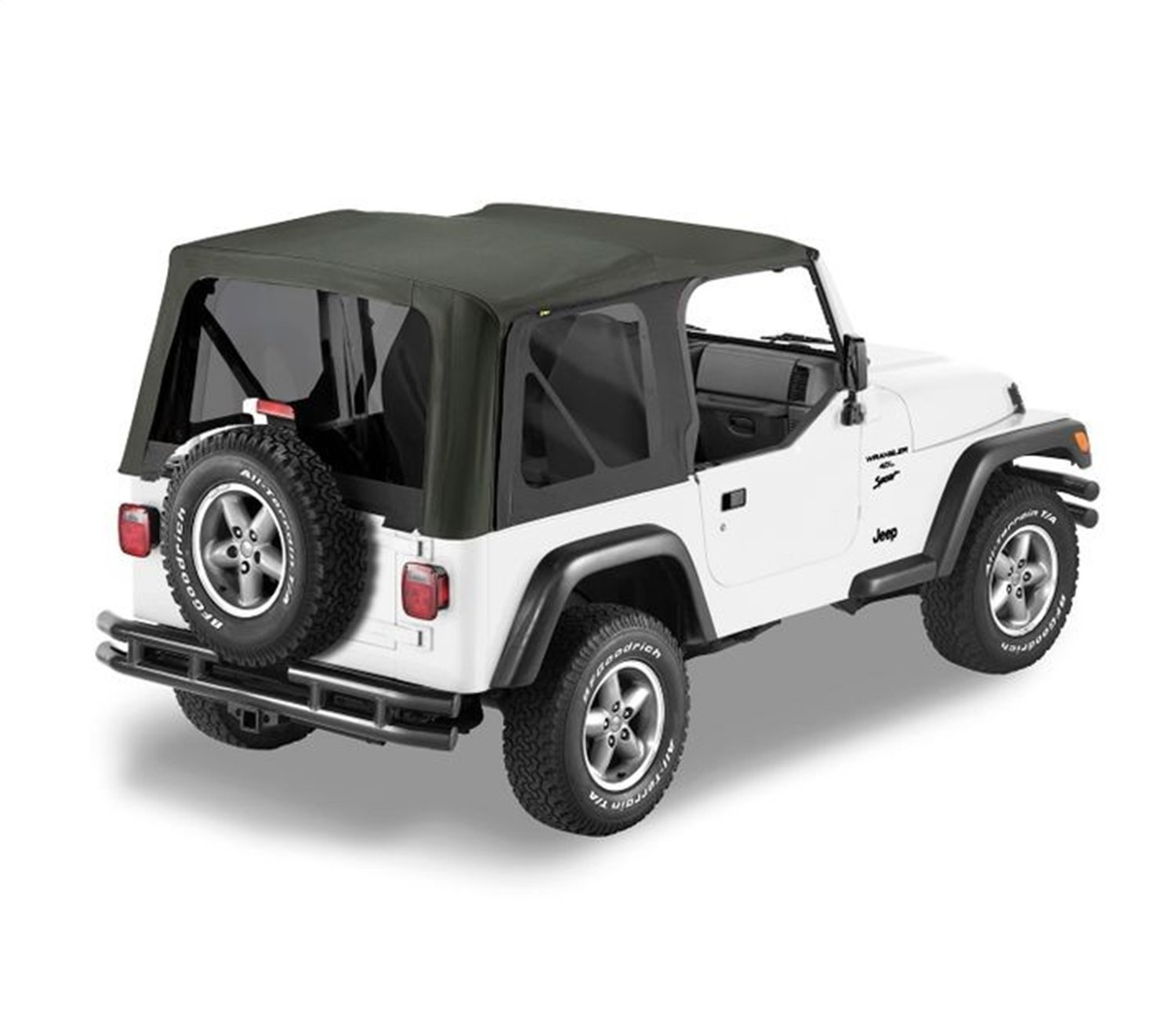 Bestop 79139-01 Black Sailcloth Replace-A-Top Soft Top with Tinted Windows; no Door Skins Included for 1997-2002 Wrangler TJ
