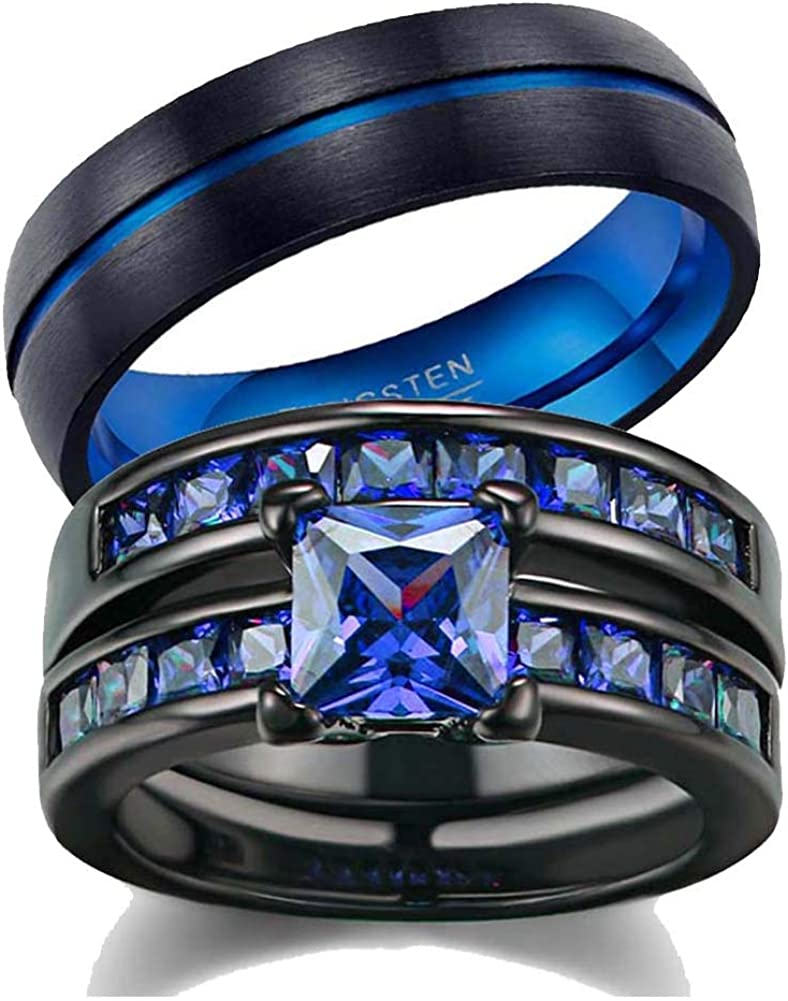 wedding ring set His Hers Couples Matching Rings Women's 2pc Black Gold Plated Blue CZ Wedding Engagement Ring Bridal Sets Men's Stainless Steel Wedding Band