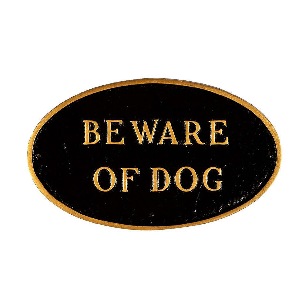 Montague Metal Products SP-5sm-BG Beware of Dog Oval Statement Plaque, Small, Black and Gold