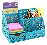 EasyPAG Cute Office Desk Organizer Mixed Pattern 6 Compartments Desktop Accessories Caddy with Drawer,Dark Teal