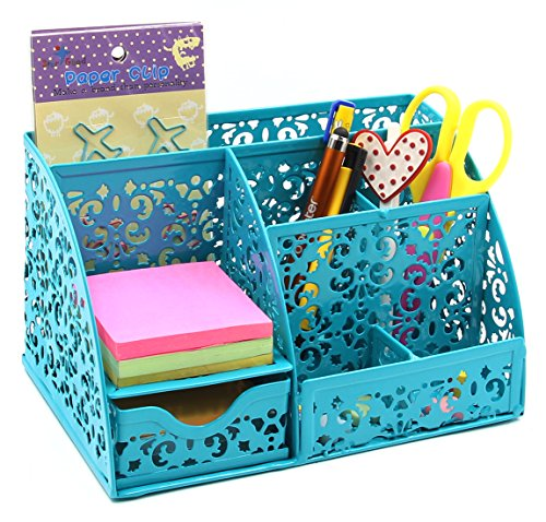 EasyPAG Cute Office Desk Organizer Mixed Pattern 6 Compartments Desktop Accessories Caddy with Drawer,Dark Teal ()