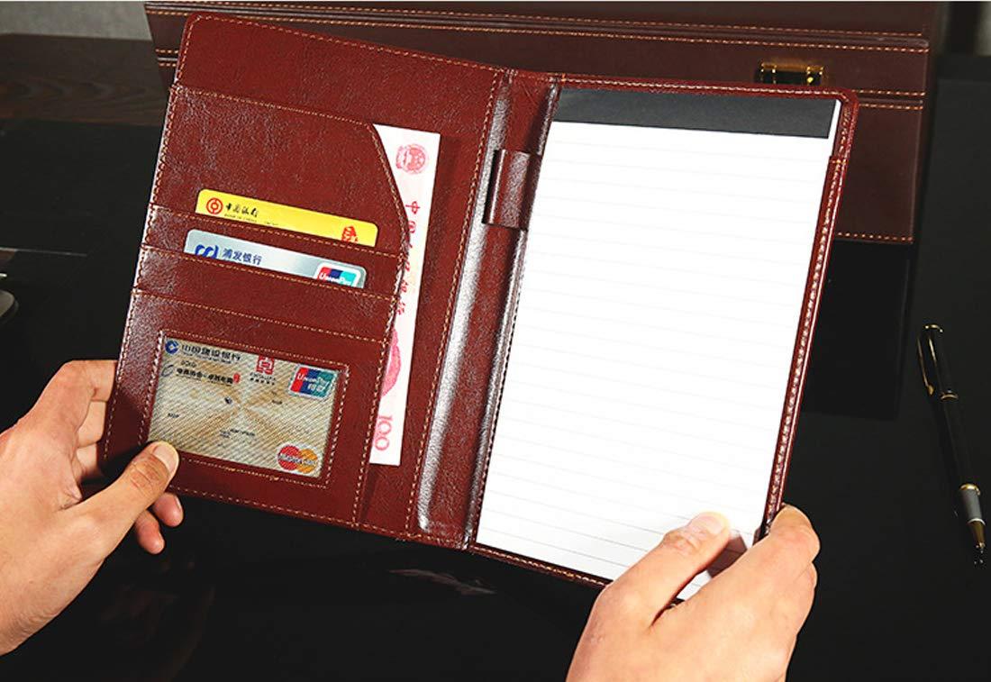 Selighting Cartella Portadocumenti Portablocco A5 Folder//Organizzatore Cartellina Porta Documenti in PU Cerniera per Casa Ufficio Business Conferenza Viaggio marrone