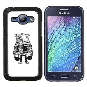 TECHCASE---Cubierta de la caja de protección para la piel dura ** Samsung Galaxy J1 J100 ** --Oso de vestuario