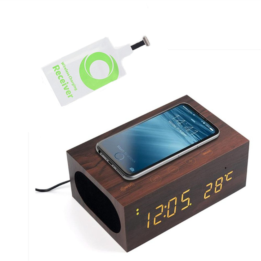 TuoP Wood Alarm Clock Qi Charger Wireless Bluetooth Speaker with NFC/LED Temperature/ Time Display with Qi Wireless Charging Receiver Pad