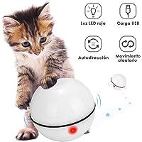 Slowton Juguetes para Gatos, Bola de gato interactiva inteligente, Nueva VersiÓN 360 Grados Bola Autogiratoria, Juguete de Mascota Recargable USB, Luz LED Giratoria Incorporada, Juguete de Ejercicio para Gatos y Perros (blanco)