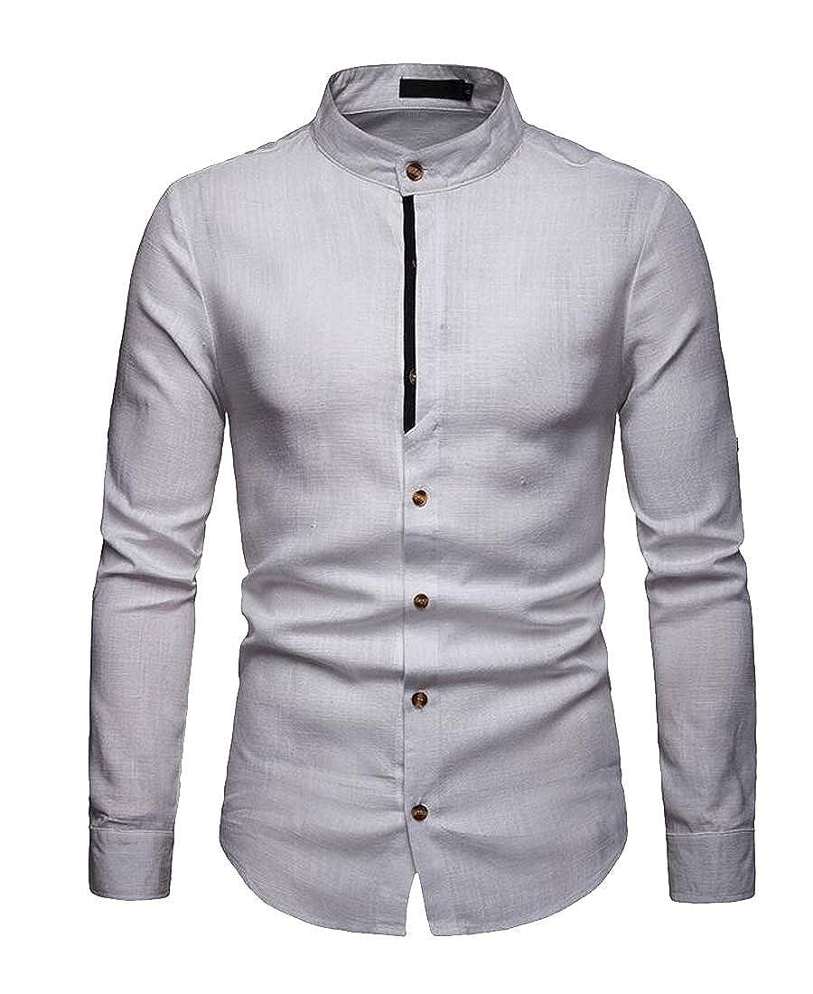 Fubotevic Mens Slim Long Sleeve Stand Collar Casual Linen Button Down Dress Work Shirt