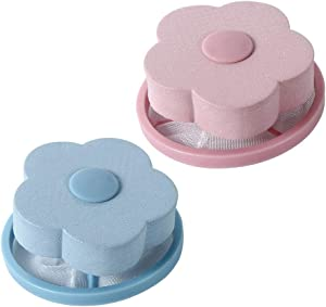 Floating Lint Mesh Bags Reusable Washing Machine Floating Filter Bag Flower Shaped Laundry Lint Remover Ball Pet Hair Wool Catchers Pink and Blue 2pcs