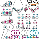 WATINC Princess Pretend Jewelry Toy,Girl's Jewelry Dress Up Play Set,Included Crowns, Necklaces,Wands, Rings,Earrings and Bracelets,46 Pack