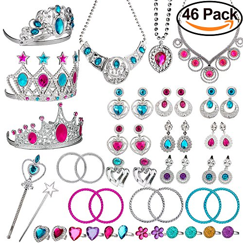 WATINC Princess Pretend Jewelry Toy,Girl's Jewelry Dress Up Play Set,Included Crowns, Necklaces,Wands, Rings,Earrings and Bracelets,46 (Dress Up Sets For 3 Year Olds)