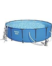 Bestway Steel Pro MAX Frame Pool Komplettset rund, mit Kartuschenfilterpumpe, Leiter, Boden- und Abdeckplane, 457x107 cm, blau
