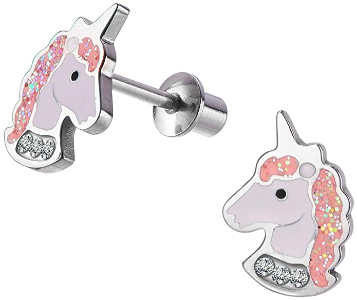 Unicorn Stud Earrings Pink Purple with Secure Screwback for Kids, Toddlers, Little Girls, Baby Girls, Stainless Steel Ultra Sensitive Screw Back Post Earrings