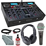 Numark CDMIX USB Dual CD/USB Self-Contained DJ System with Backlit Display Deluxe Bundle with Samson Q6 Microphone + Stereo Headphones + Fibertique Cloth + More