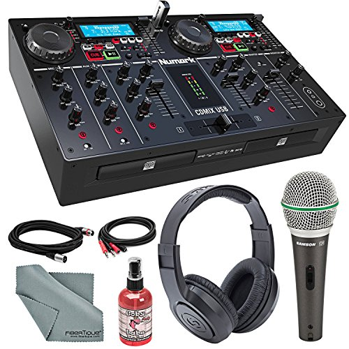 Numark CDMIX USB Dual CD/USB Self-Contained DJ System with Backlit Display Deluxe Bundle with Samson Q6 Microphone + Stereo Headphones + Fibertique Cloth + More by Photo Savings
