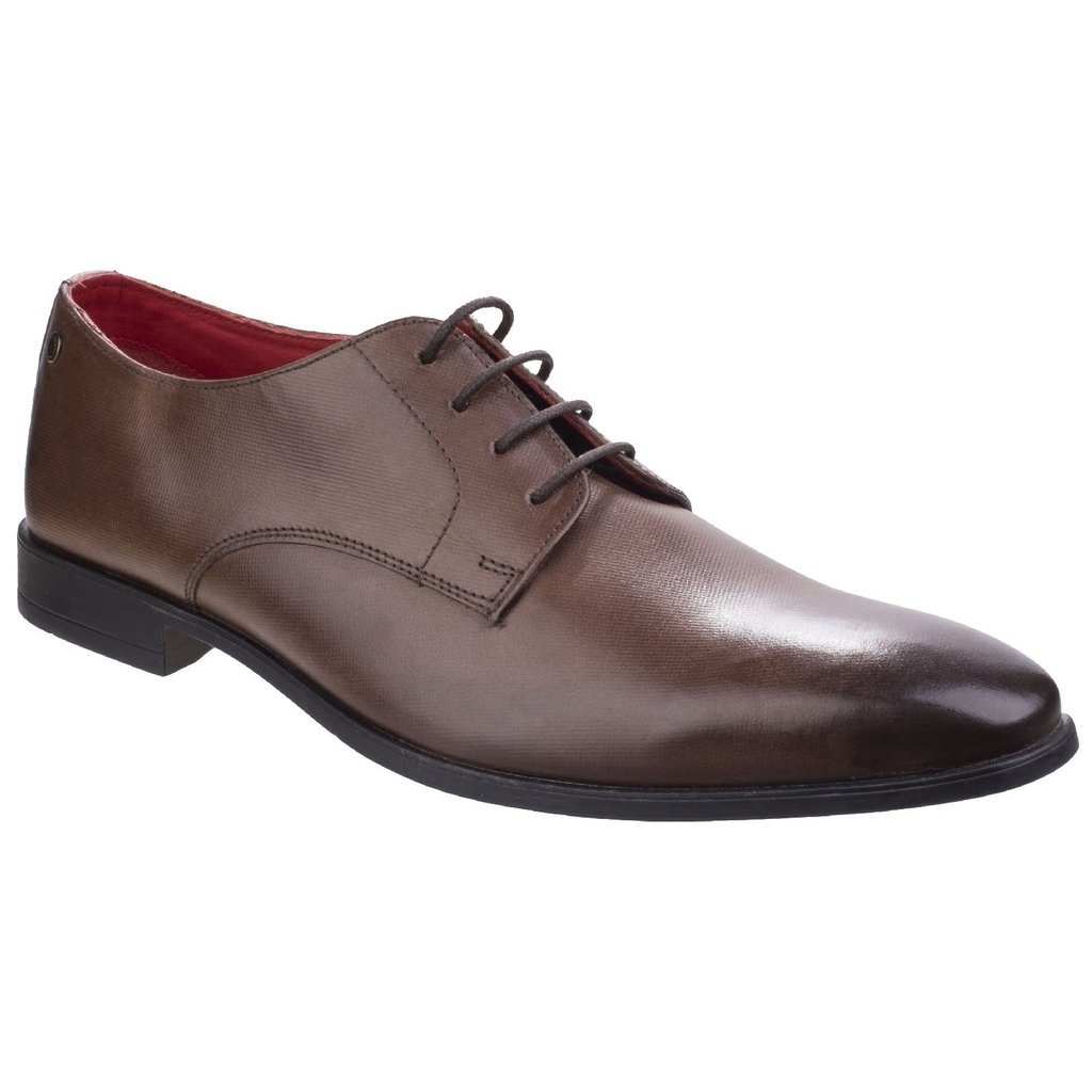 Base London Mens Shilling Waxy Leather Chiselled Tip Derby Style Shoes 11 Brown