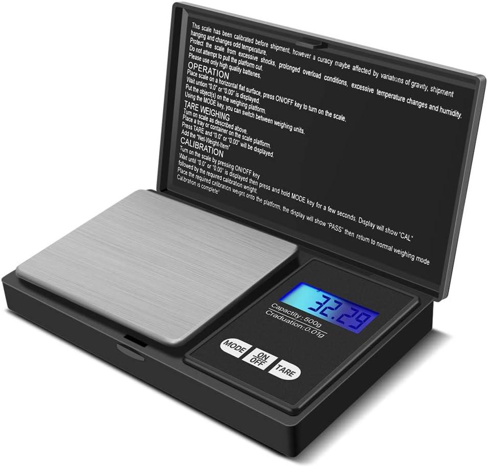 GPISEN Báscula Digitales de Precisión,Balanzas de Portátiles, Báscula de Joyería,con Pantalla LCD y 7 Unidades,Plataforma de Acero Inoxidable, Función de Tara, para Cocinar, Café-500g x 0.01g