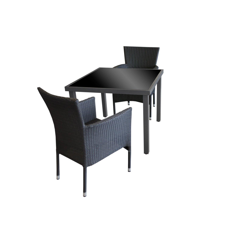 3tlg Gartengarnitur Gartentisch Glastisch Aluminium 90x90cm Anthr