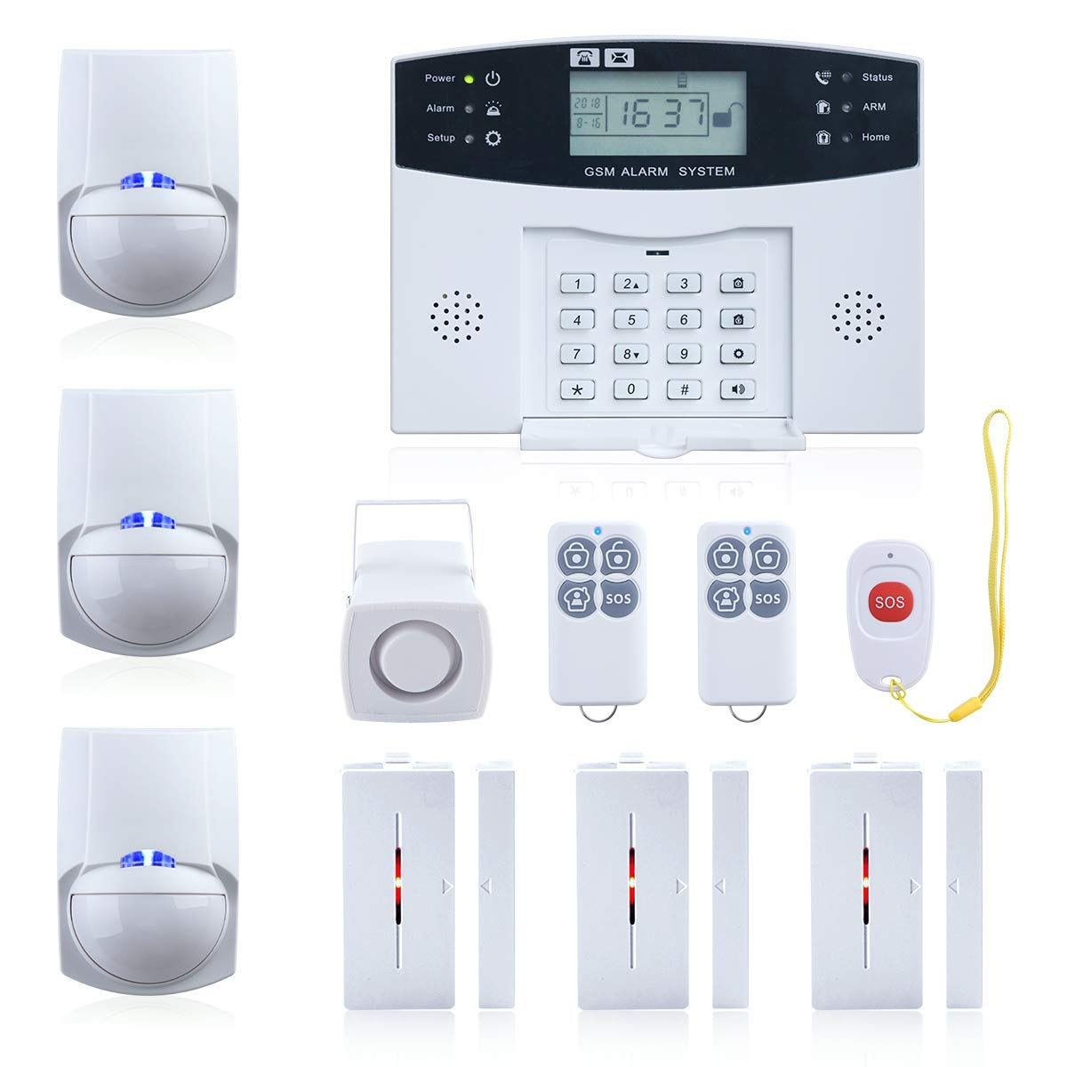 Wireless Burglar Alarm System GSM Smart LCD Voice Anti-theft Security Siren Kits