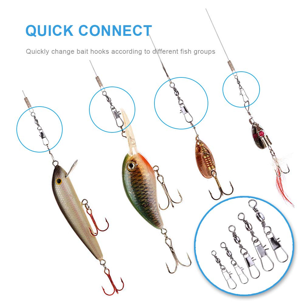 MOBOREST 200PCS Barrel Snap Swivel Fishing Accessories Premium Fishing Gear Equipment with Ball Bearing Swivels Snaps Connector for Quick Connect Fishing Lures