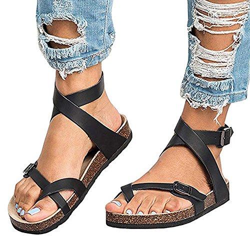 Huateng Women's Sandals Flat Shoes Boho Casual Open-Toe Sandals Summer Fashion Shoes Black 1 HK8uM