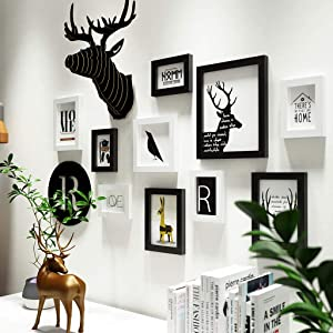 ZXW Deer Head Solid Wood Photo Wall, Nordic Combination Photo Frame, Modern Decorative Painting Can Change Photos, 10 Photo Frames & 2 Accessories -Black+White