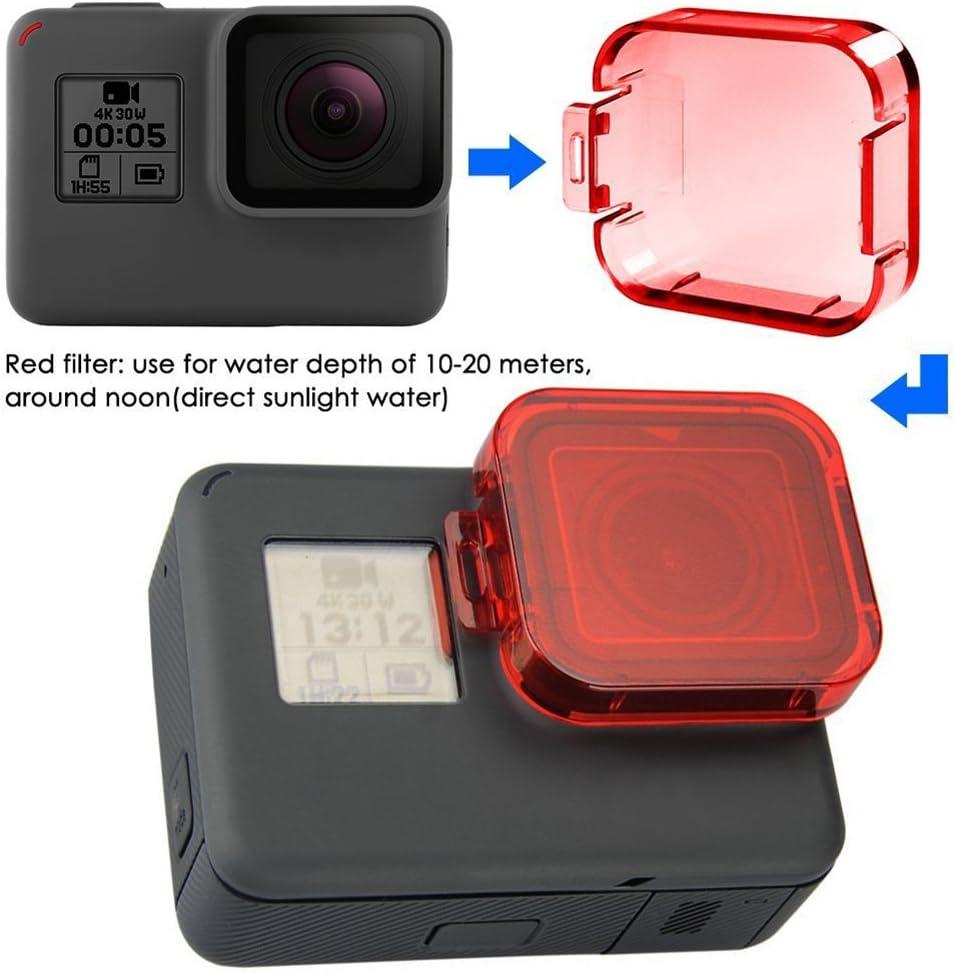 Homree Filtre rouge pour GoPro Hero 5 filtre /étanche /à clipser sur lobjectif pour la photographie sous-marine