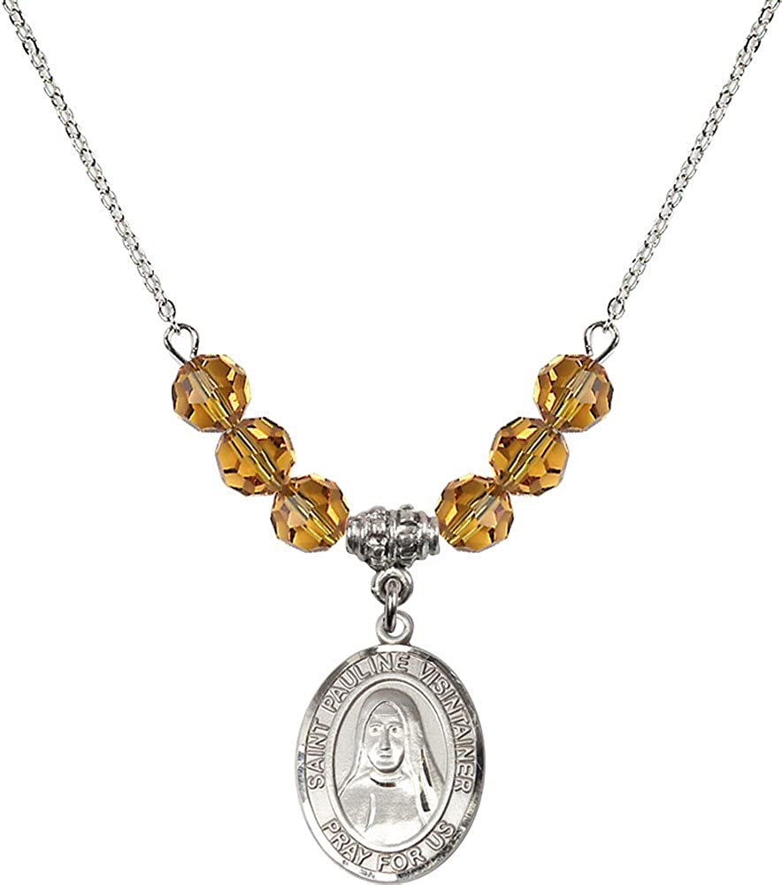 18-Inch Rhodium Plated Necklace with 6mm Topaz Birthstone Beads and Sterling Silver Saint Pauline Visintainer Charm.