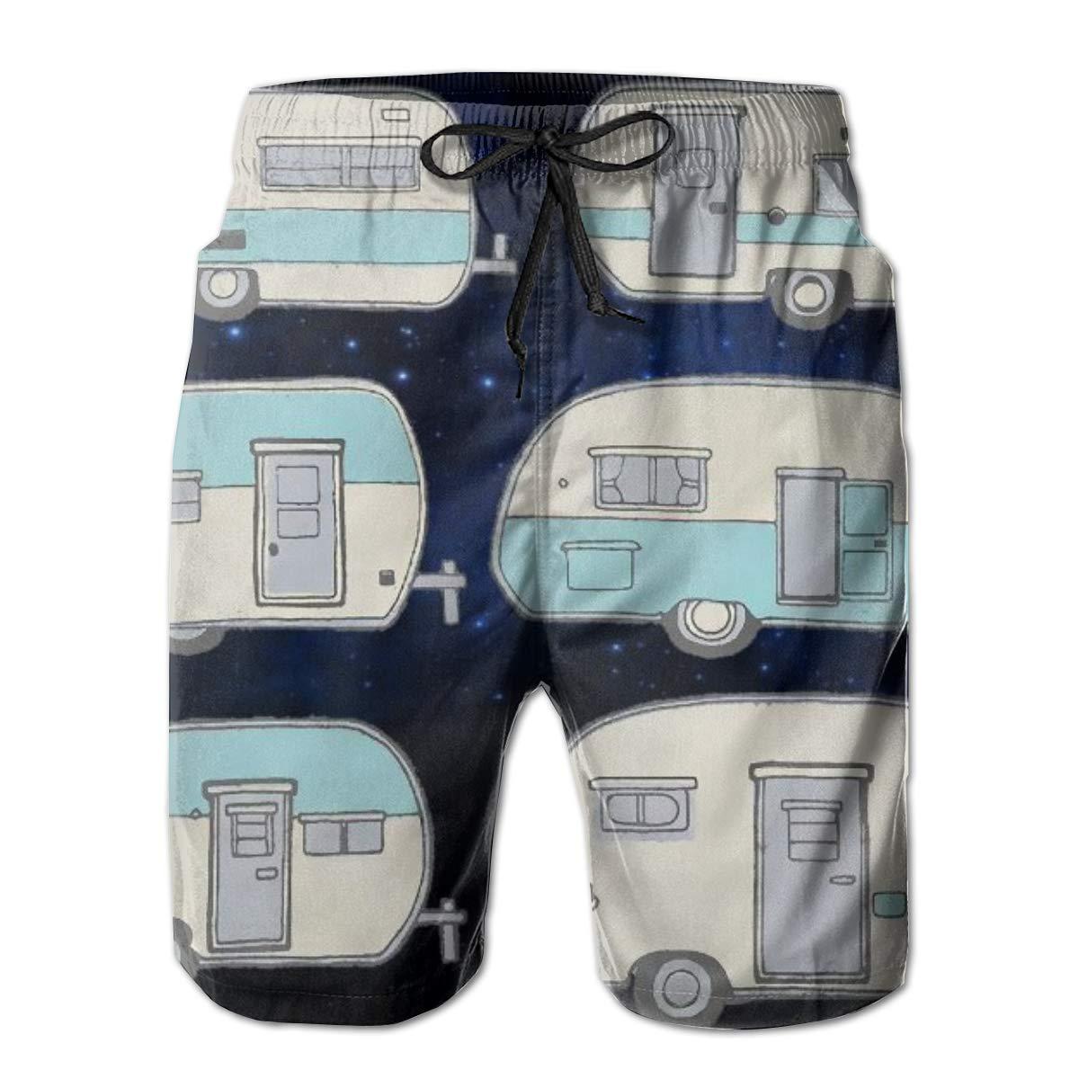 Father Swim Trunks Camper Doodles RV Van Beach Wear Board Running Shorts Swim Pants Quick Dry