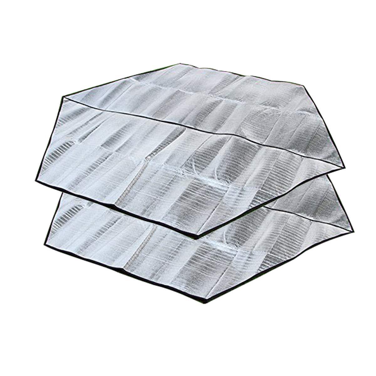 DMGF Camping Blanket Picnic Mat Hexagonal Outdoor Aluminum Cushion Waterproof Tent Mat for Beaches Hiking 2Piece