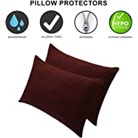 Dream Care Waterproof Pillow Protector, 18 x 28 inch, Set of 2, Coffee