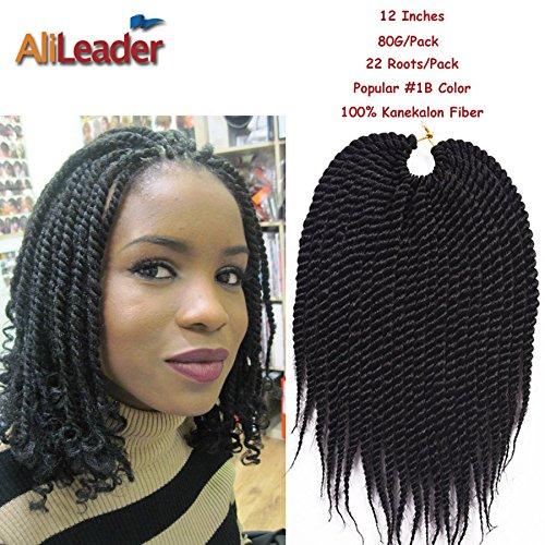 "12"" Black Crochet Braid Hair Medium Jumbo Twist Braid 80G/Pack 22Roots/Pack Kanekalon Synthetic Hair Extensions from AliLeader"