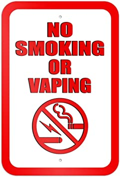 Bilingual No Smoking or Vaping Decal 5 Pack 6x8 Made in USA. Clearly Inform of Smoking and Vaporizing Rules in English /& Spanish 5-Decals