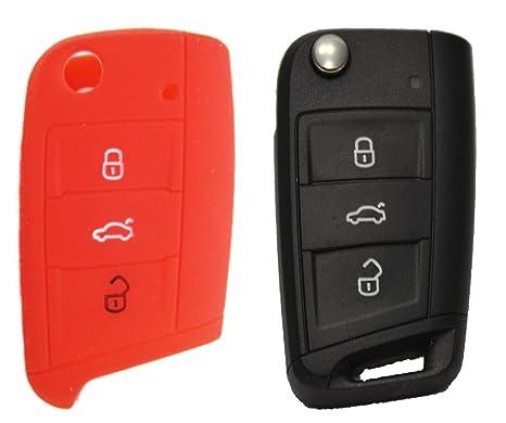 1 x Rojo/funda de silicona para 3 botones Volkswagen/Seat ...