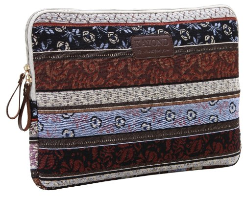 Kayond Canvas Bohemian Water-resistant Sleeve for 11-11.6 Laptop Ultrabook Netbook Tablet/New 12 inch Macbook Air(Classic (Easy Carry Portfolio)